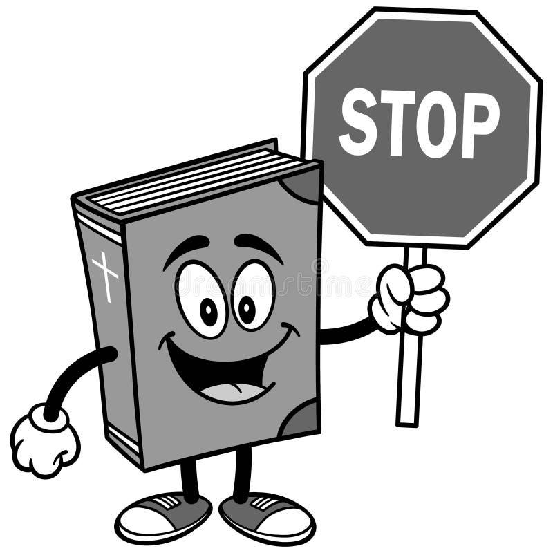 Bibelskolamaskot med stoppteckenillustrationen vektor illustrationer
