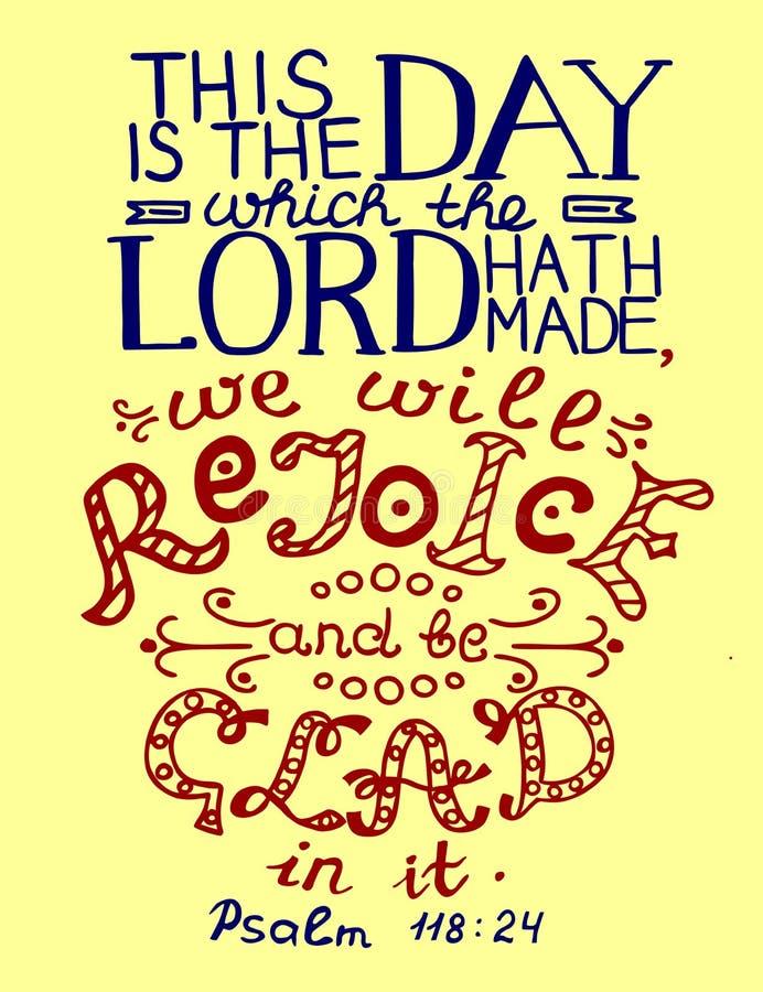 Bibelvers dieses ist der Tag, den der Lord gemacht hat lizenzfreie abbildung