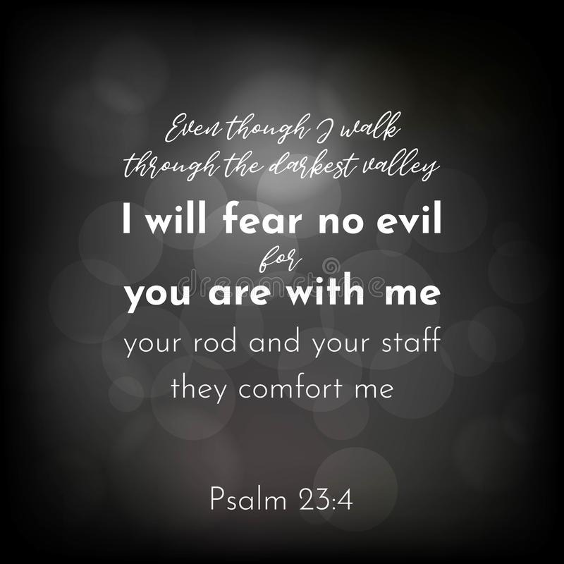 Bibelvers från psalm 23, ska jag frukta ingen ondska stock illustrationer