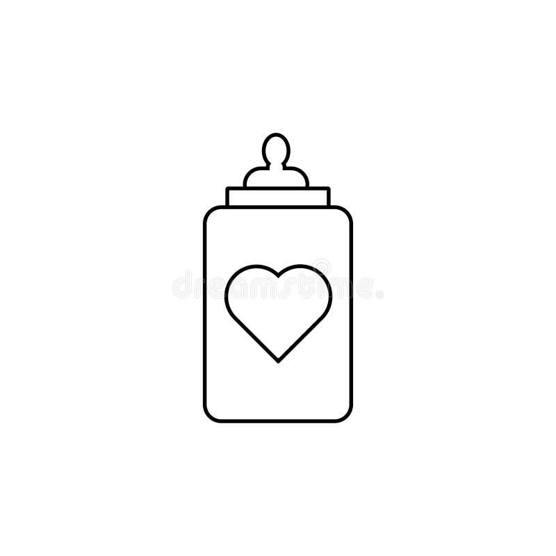 Biberón con un icono del corazón stock de ilustración