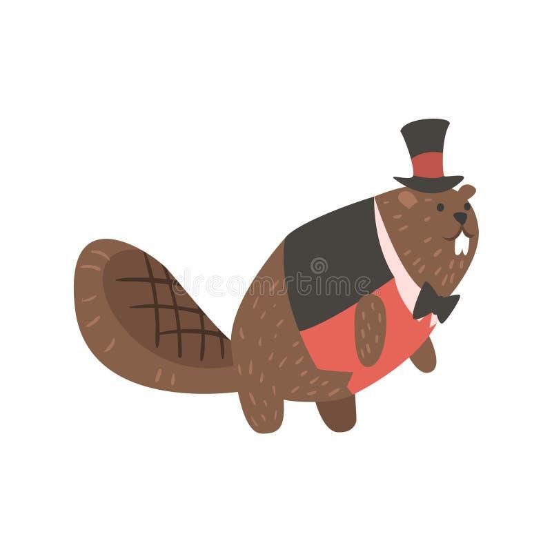 Biber gekleidet als Herr, Forest Animal Dressed In Human-Kleidungs-lächelnde Zeichentrickfilm-Figur stock abbildung