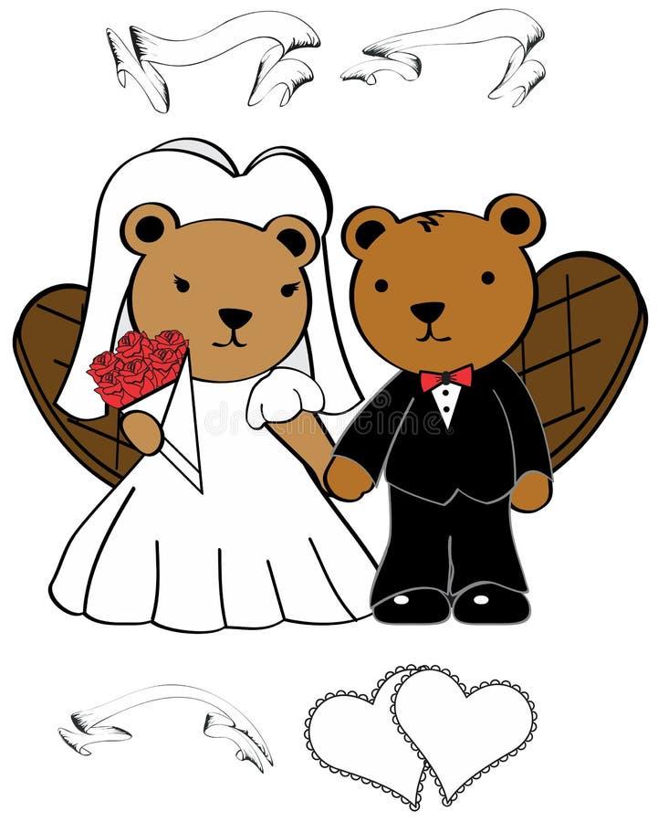 Biber heiratete Karikatursatz lizenzfreie abbildung