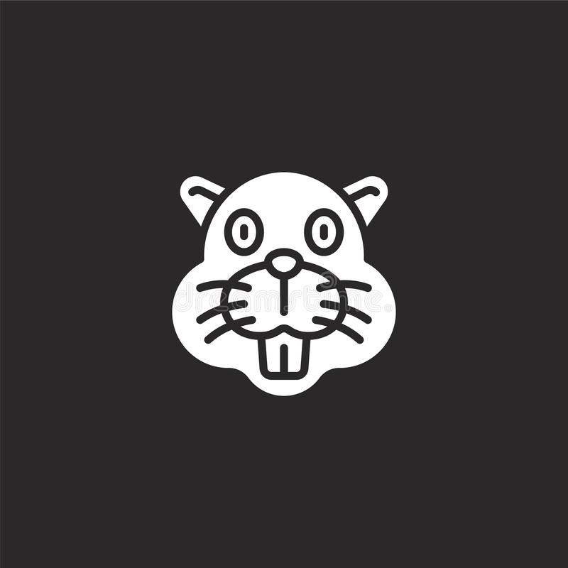 Biberikone Gefüllte Biberikone für Websiteentwurf und Mobile, Appentwicklung Biberikone von gefüllter Tieravatarasammlung lizenzfreie abbildung
