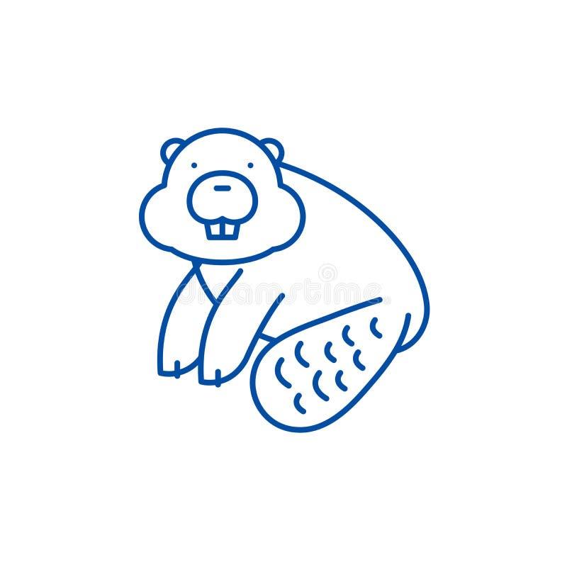 Biberlinie Ikonenkonzept Flaches Vektorsymbol des Bibers, Zeichen, Entwurfsillustration stock abbildung