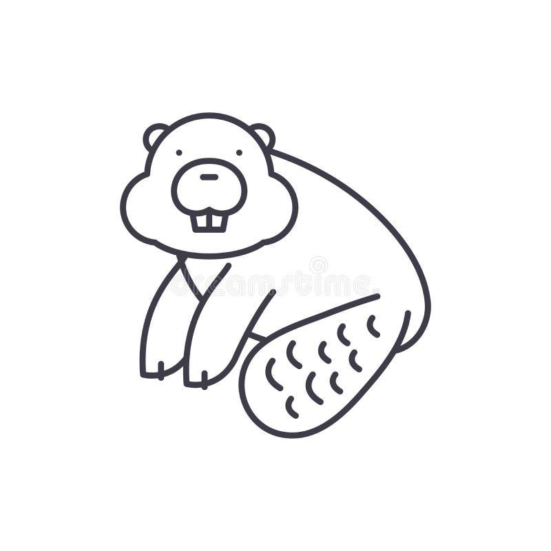 Biberlinie Ikonenkonzept Lineare Illustration des Bibervektors, Symbol, Zeichen lizenzfreie abbildung