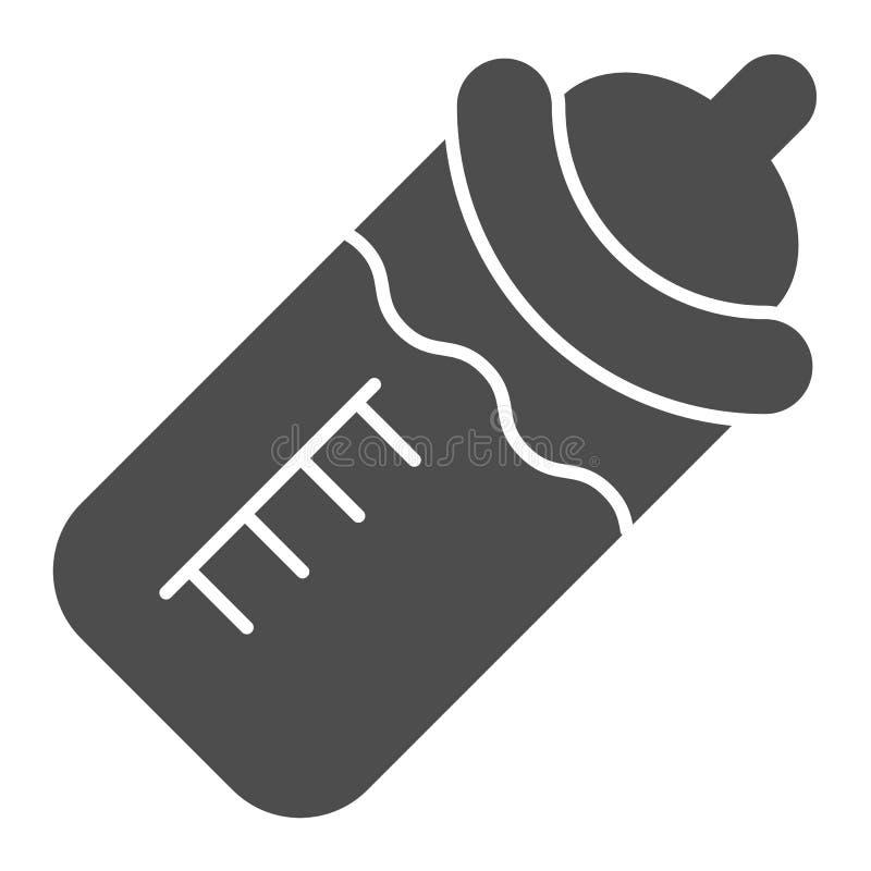 Biberon avec l'icône de solide du lait Bouteille avec l'illustration de vecteur de t?tine d'isolement sur le blanc Style de glyph illustration libre de droits