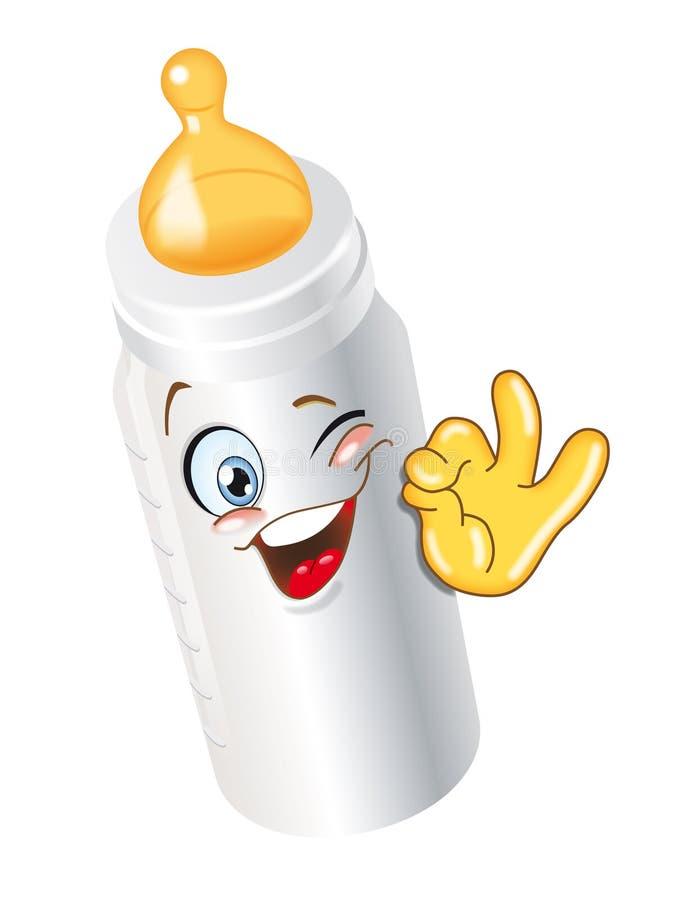 Biberon. Milk biberon cartoon character ok smiling funny royalty free illustration