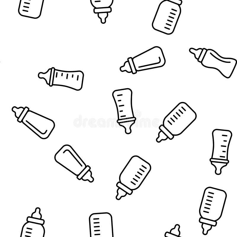 Biberon, modèle sans couture de vecteur d'équipement de Childcare illustration stock