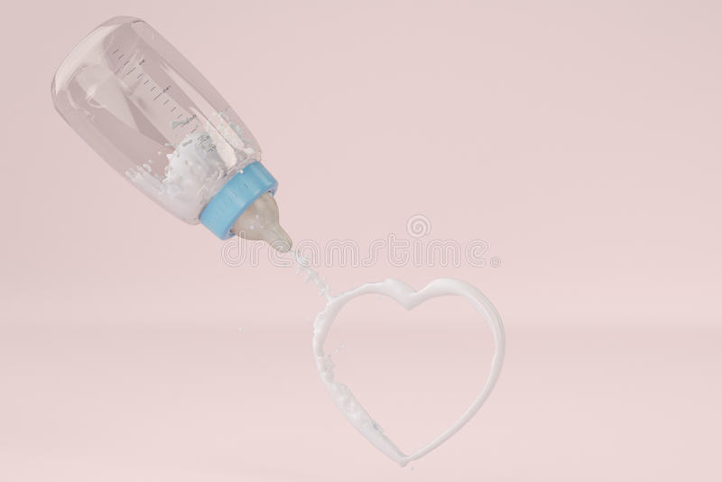 Biberones y leche en forma de corazón en fondo rosado illust 3d stock de ilustración
