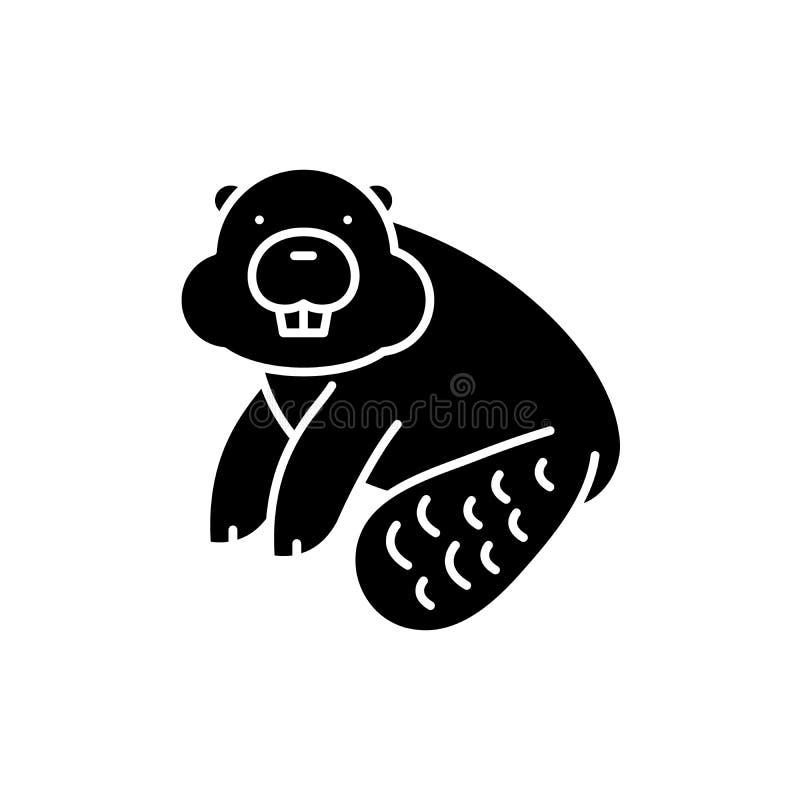 Biberschwarzikone, Vektorzeichen auf lokalisiertem Hintergrund Biberkonzeptsymbol, Illustration lizenzfreie abbildung