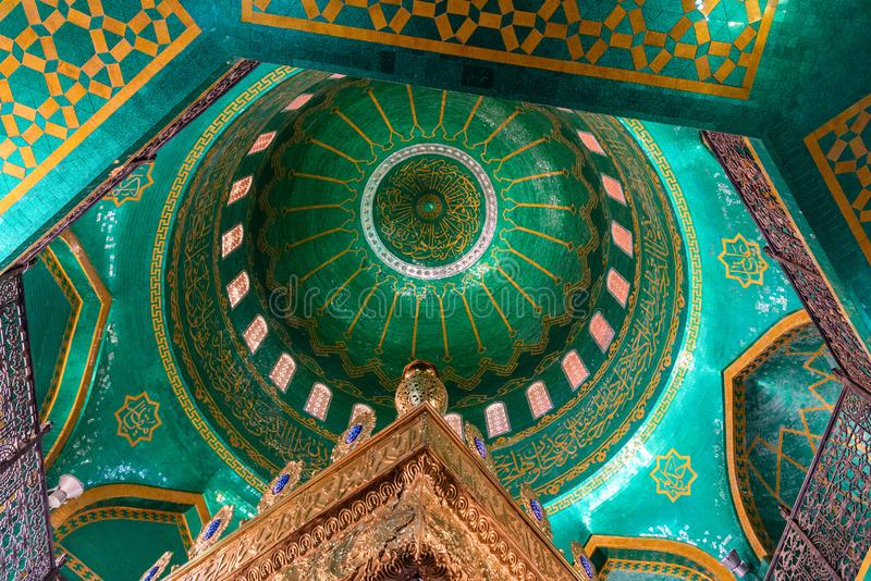 Interior view of the dome ceiling of Bibi-Heybat mosque in Baku, Azerbaijan stock photography