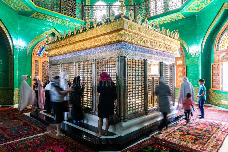 Tomb of Ukeyma Khanum, a descendant of prophet Muhammad, inside the Bibi-Heybat mosque in Baku, Azerbaijan. Bibi-Heybat, Baku, Azerbaijan - May 12, 2019. Tomb of royalty free stock images