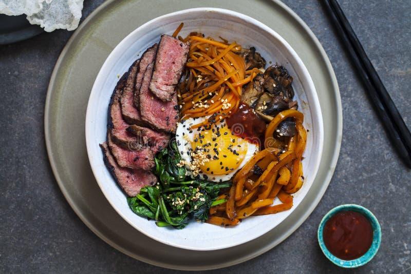 Bibimbap, Korean beef and vegetables royalty free stock photo