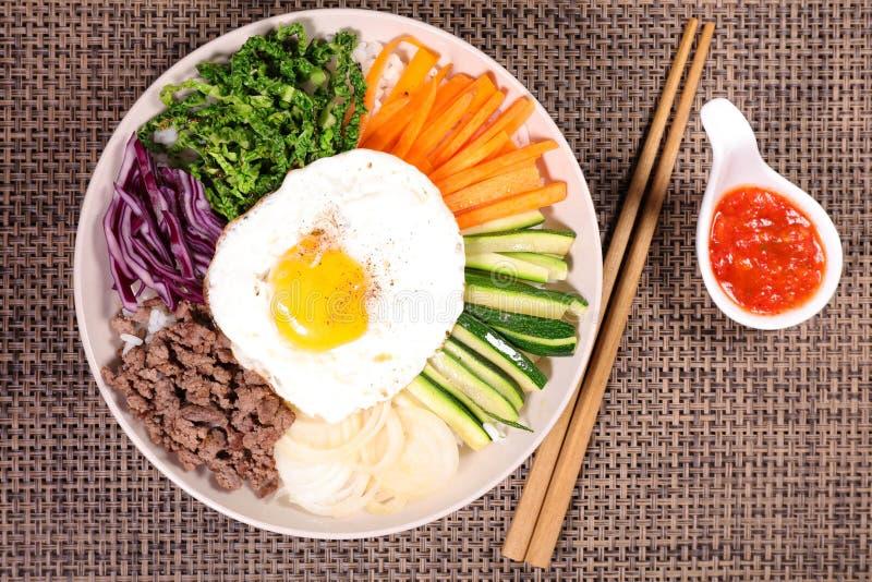 Bibimbap,korean food. And sauce stock photography