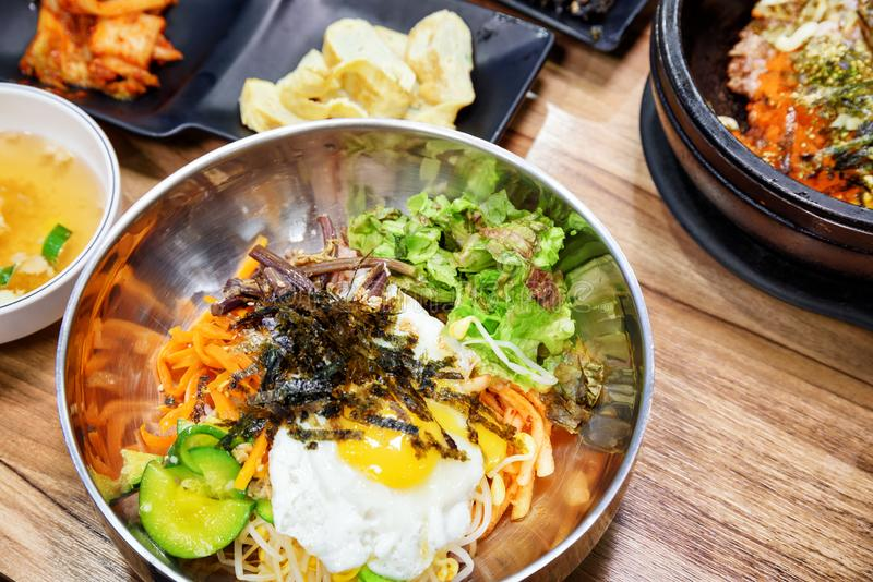 Bibimbap is a popular Korean dish. Mixed rice with meat royalty free stock image