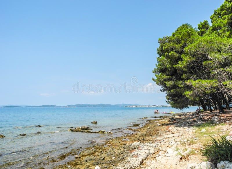 Bibinje海滩,克罗地亚 免版税库存照片