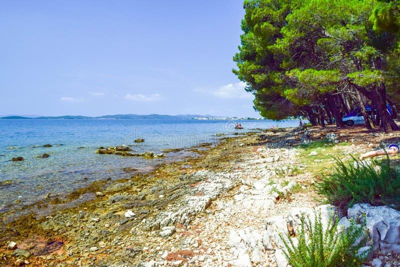 Bibinje海滩,克罗地亚 免版税库存图片