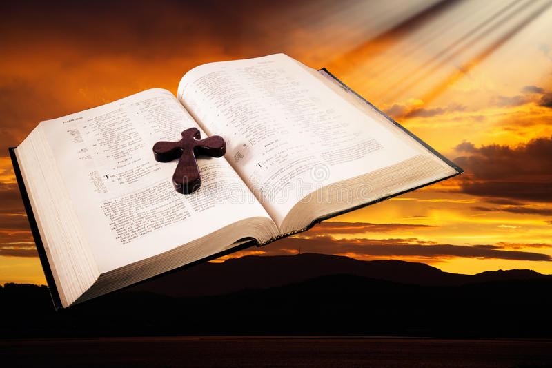 Download Bible stock photo. Image of text, open, light, cross - 20563492