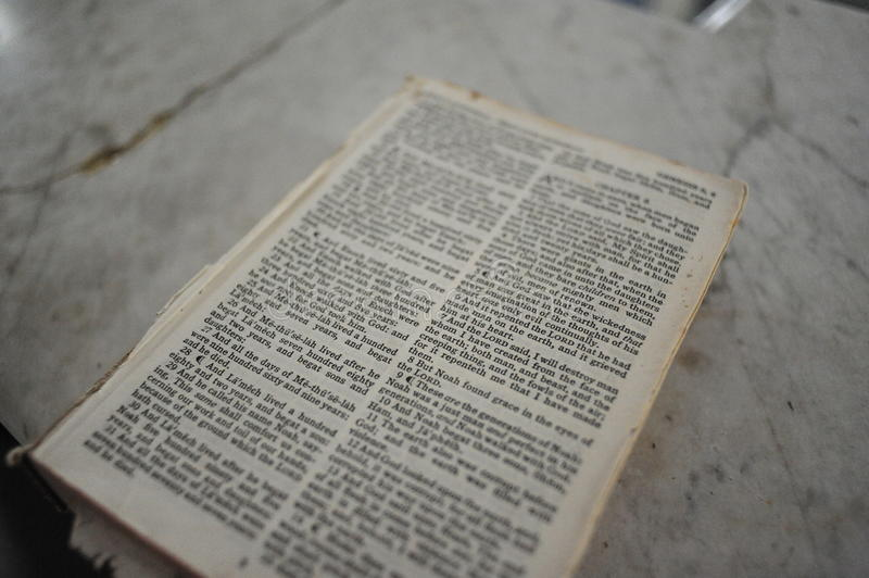 Bible. In an abandoned church in Rodney, Mississippi stock photo