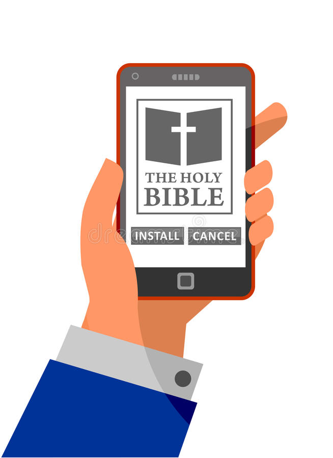 Bible application about to install on smartphone royalty free illustration