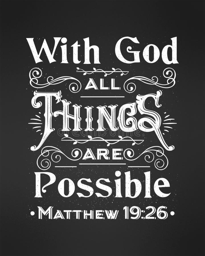 Biblical background with vector hand lettering With God all things are possible. vector illustration