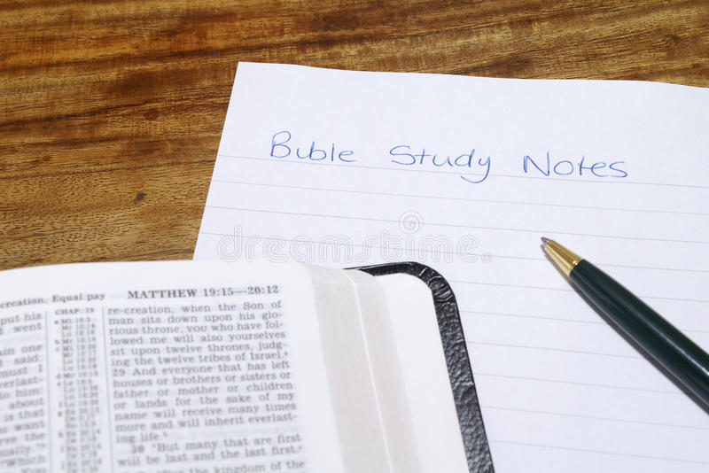 Bible With Bible Study Notes royalty free stock photography