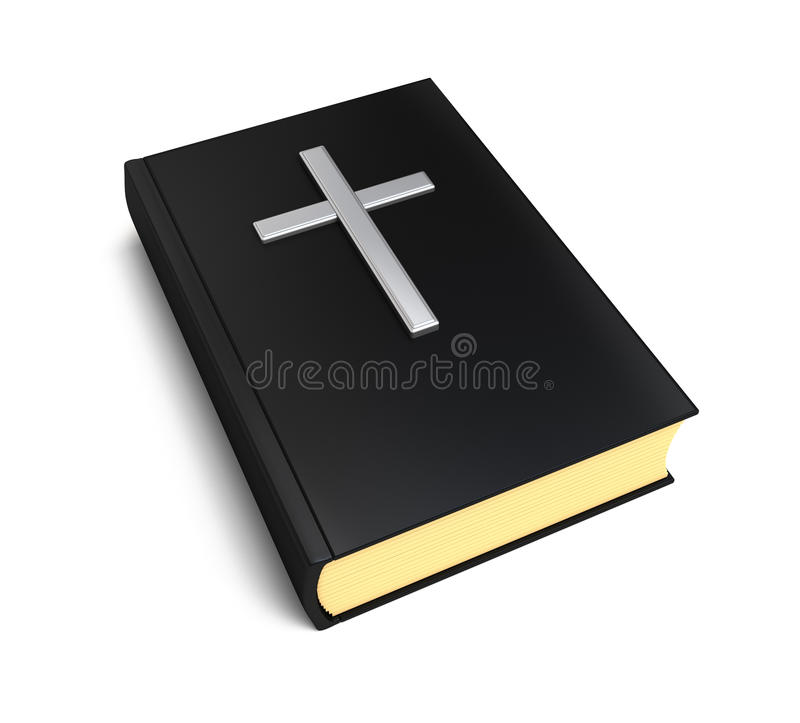 Bible book and silver cross vector illustration
