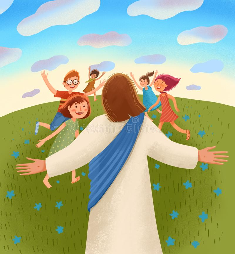 Jesus waits for children with open arms, children run to him with joy and happiness. Bible children illustration. Jesus waits for children with open arms royalty free illustration