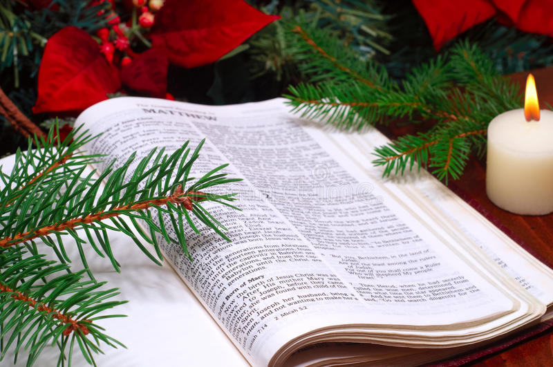 Bible Christmas arrangement royalty free stock image