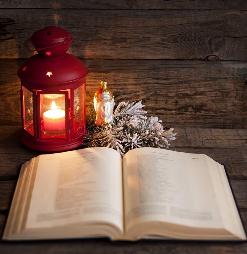 Bible and Christmas time stock photo