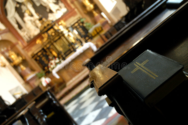 Bible in church. Close up of bible in church royalty free stock photography