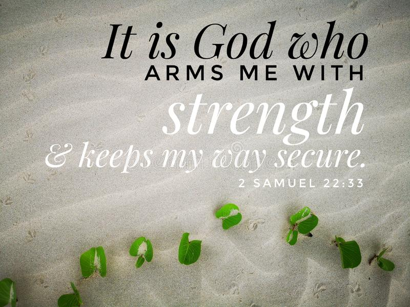 God gives me strength with bible verse design for Christianity with sandy beach background. stock photos