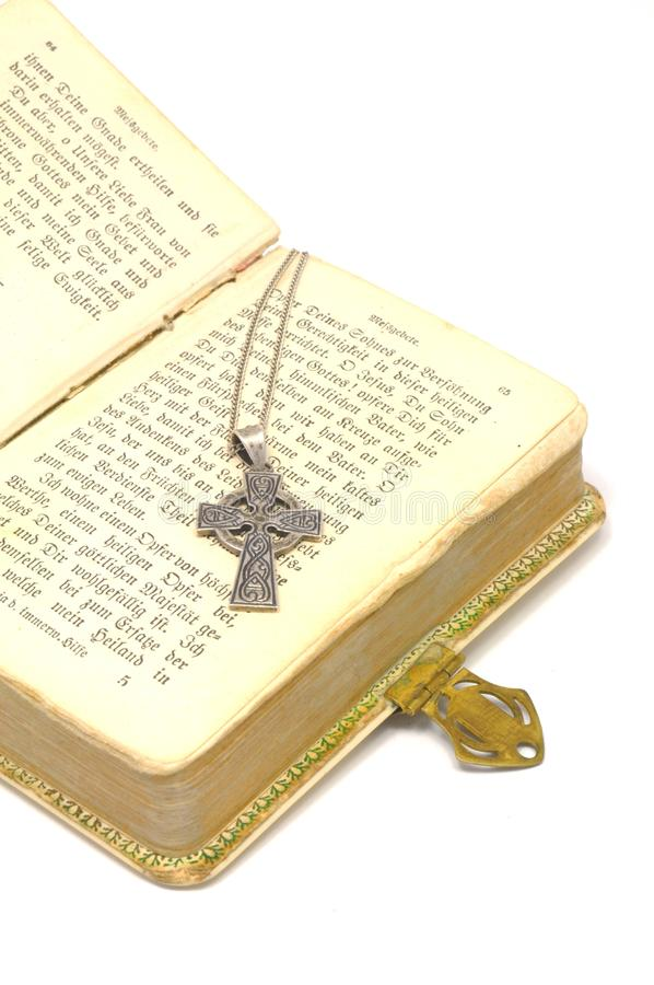 Bible with cross stock image