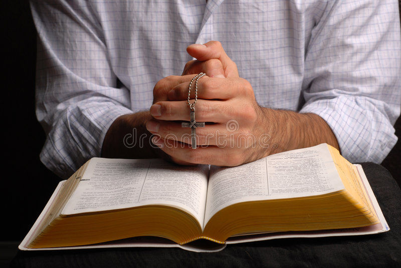 Bible and cross stock photography
