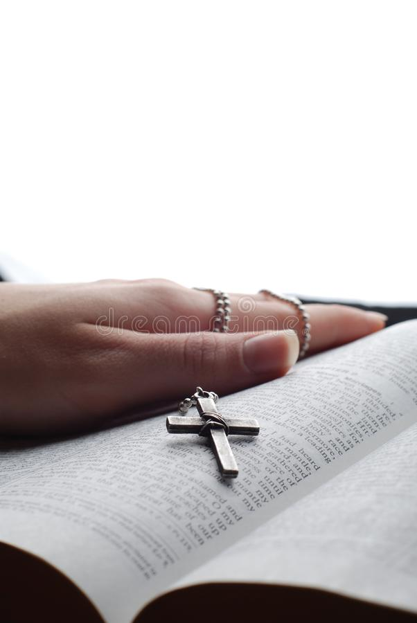 Bible and cross stock images
