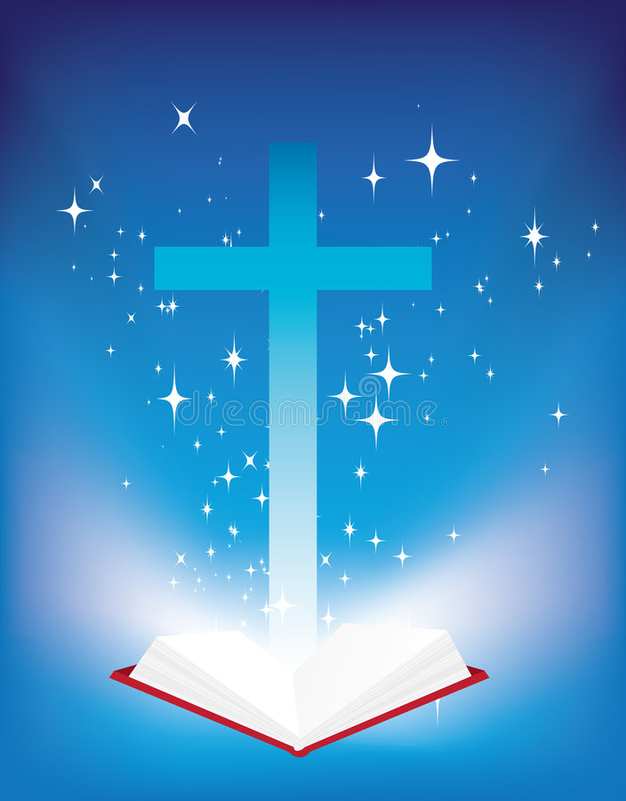 Bible and cross stock illustration