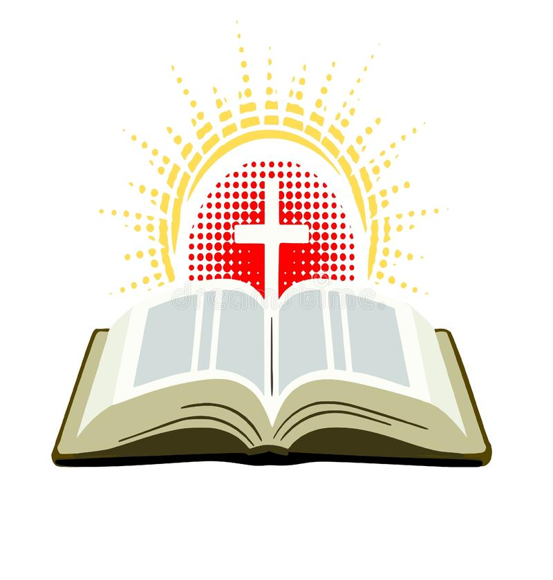Bible with cross and rays of light stock illustration