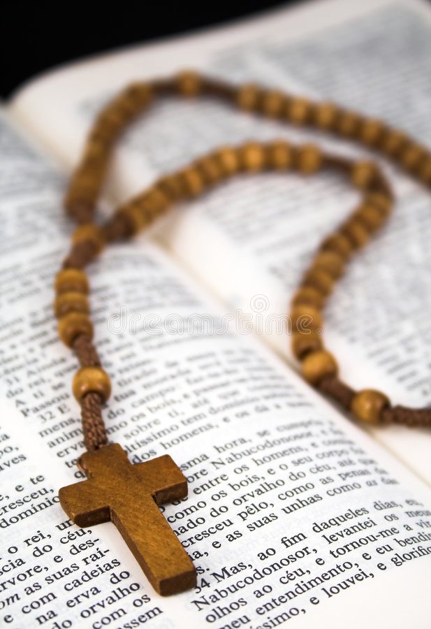 Download Bible with crucifix stock image. Image of beads, religion - 3205407