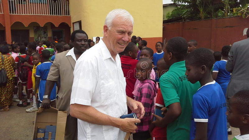 Bible distribution in a Nigerian school. Michael Steiner of the Gideons International distribute s free copies of Testament Bibles at a school in Nigeria, West stock photos