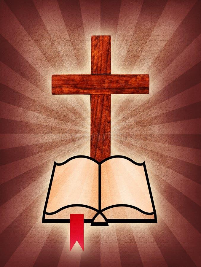 Bible en travers et sainte illustration libre de droits