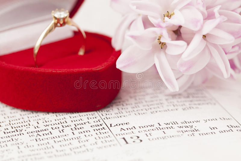 Download Bible and engagement ring stock image. Image of religion - 28609039
