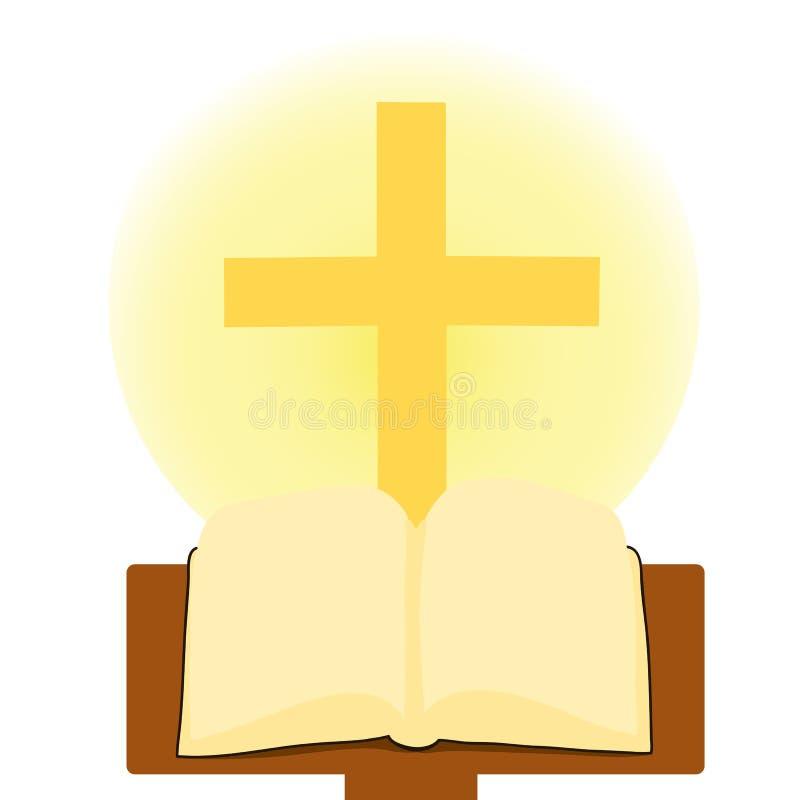 Bible et croix de houx illustration stock