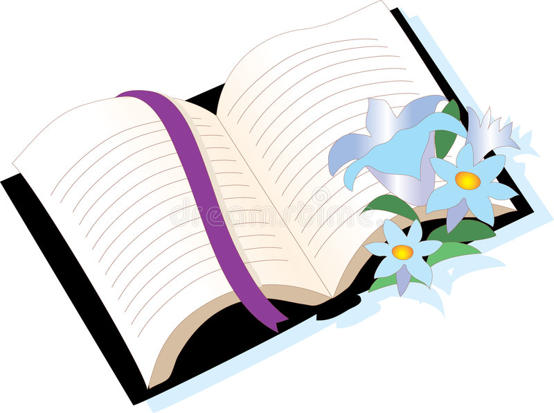 Bible with flowers. With ribbon vector illustration