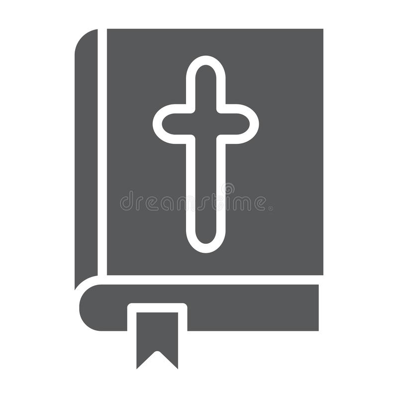 Bible glyph icon, church and religion, book with cross sign, vector graphics, a solid pattern on a white background. vector illustration