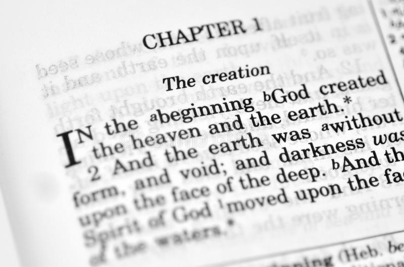 Bible - Genesis chapter. Bible god religion creation creationism christianity creation story royalty free stock photos