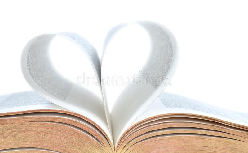 Bible with heart shape on pages royalty free stock images