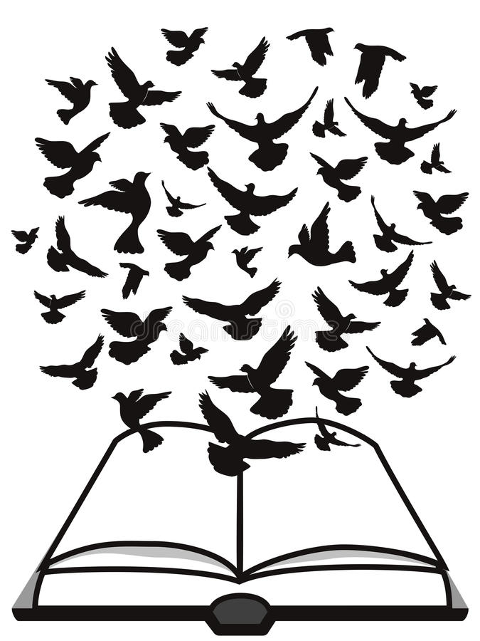 Bible Holy Spirit,a group of dove flying above the bible stock illustration