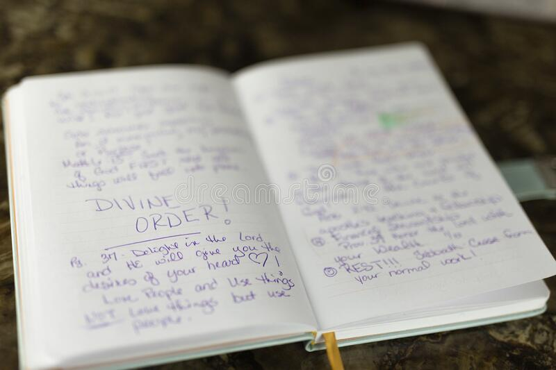 Bible journaling and time with God daily devotion. Journal with scriptural references laid out on table after daily devotion royalty free stock photography