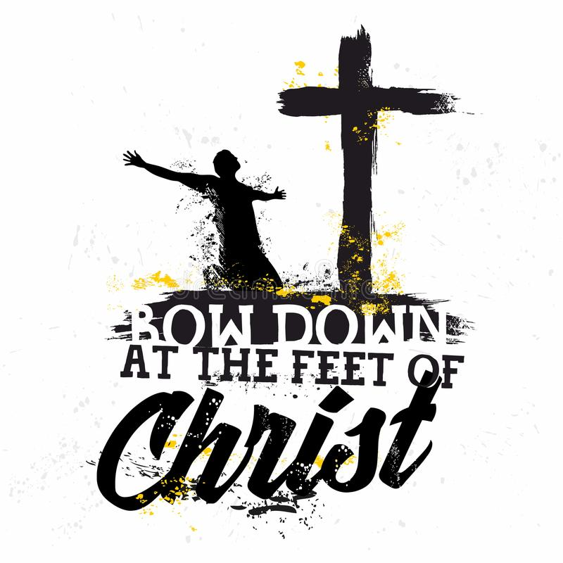 Free Bible Lettering. Christian Art. Bow Down At The Feet Of Christ Stock Photos - 122614243