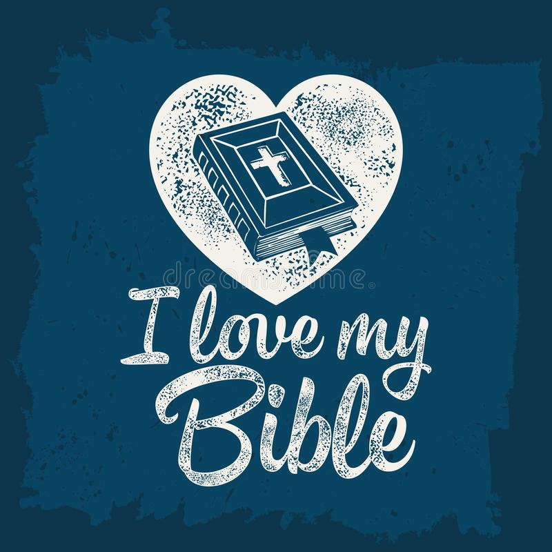 Bible lettering. Christian art. I love my Bible.  vector illustration
